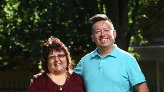 Lila Bruyere, 61, and her son, Shawn Johnston, 37, fought back from addictions and will become the first mother-son duo to graduate from the same program at Wilfrid Laurier University in Waterloo, Ontario. They will both receive their master's degrees from the faculty of social work's aboriginal field of study program on October 31, 2014.