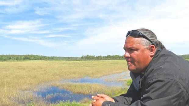 """Sean Thompson, natural resource technician for the Fond du Lac band of Lake Superior Chippewa, looks out over restored wild rice on the reservation's Perch Lake, near Cloquet, Minnesota. """"It's the crown jewel of the reservation lakes,"""" Thompson says."""