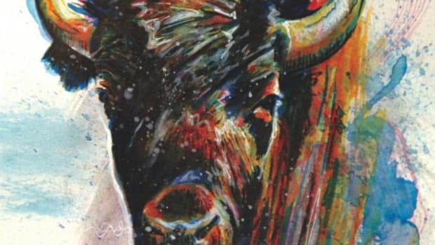 This buffalo painting is one of Dylan Cavin's.