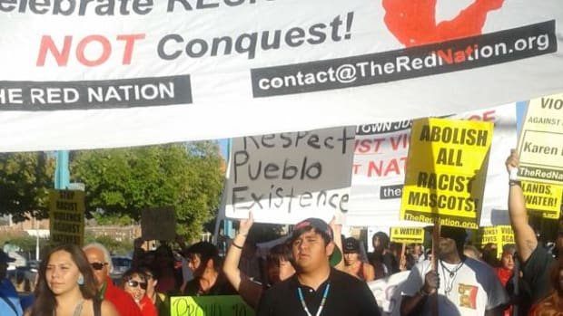 The people marched to the sound of drum beats while stopping at intervals to hear invited speakers who spoke about not only for the abolishment of Columbus Day, but also to talk about the issues facing Native Americans in New Mexico's largest city.