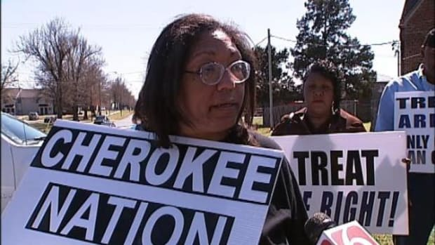Marilyn Vann, a Cherokee Freedmen and president of the Descendants of the Freedmen of the Five Civilized Tribes, fought for Freedmen's rights to be citizens of the nation in this photo from 2011.