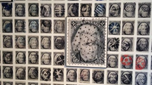 Cancelled Andrew Jackson stamps at a Yale University Art Gallery program.