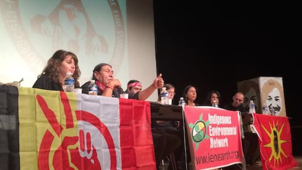 Indigenous Environmental Network director Tom Goldtooth, second from left, served on a panel in Paris in October, ahead of the December UN Climate talks known as COP21.