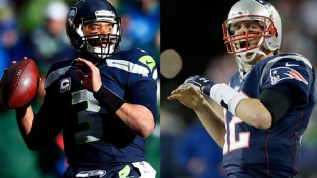 Seattle's Russell Wilson, left, and New England's Tom Brady, right, will faceoff for Super Bowl XLIX on Feb. 1, 2015.