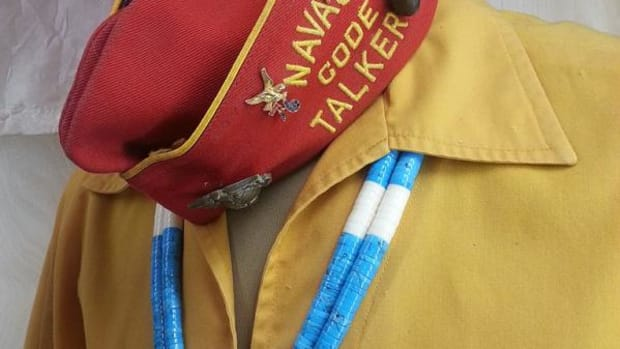 A uniform similar to the one pictures, that was worn by Navajo Code Talker George H. Kirk Sr. will return home after 15 years.