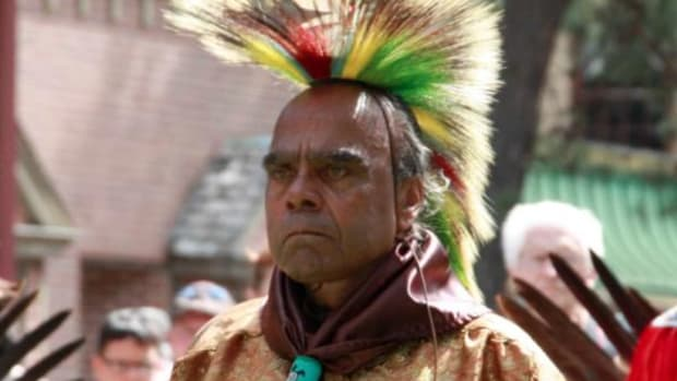 Chief Mark Quiet Hawk Gould taking part in A Day of Celebration! Lenapowsi: Nanticoke-Lenape Music, Dance and Craft. Wheaton Arts and Cultural Center, Millville, New Jersey, September 2014.