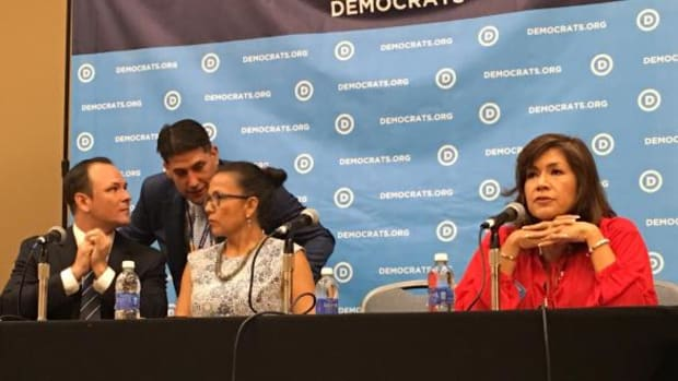 Panel speakers at the Native American Council on the first day of the Democratic National Convention included, from left, Charles Galbraith (Navajo), Rion Ramirez (Saquamish), Jodi Gillette (Standing Rock Sioux) and Kimberly Teehee (Cherokee).