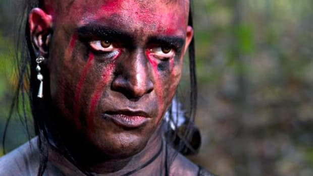 A still from the movie's official site, showing actor Tony Wade as Hannawoa, captioned: 'Hannawoa decides to take matters into his own hands regarding the Americans.'