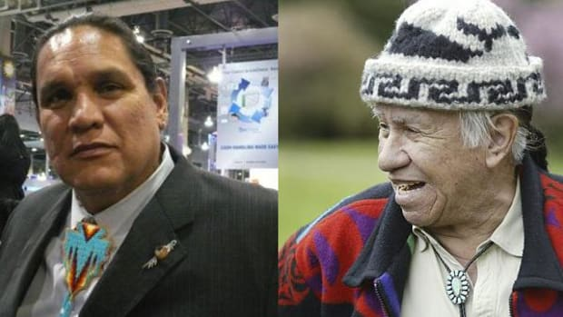 Ernie Stevens Jr., chairman of the National Indian Gaming Association, on the left, shared his memories of Billy Frank Jr.
