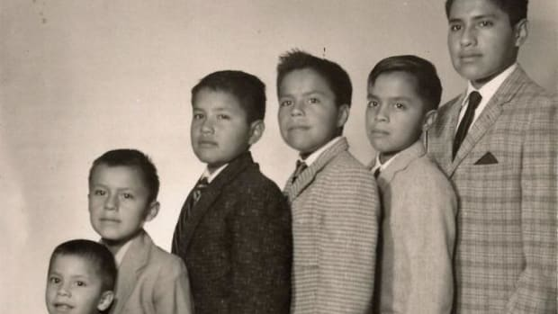 The Hillis boys. Pictured from left to right: Alan (who did not serve), Russell, Lowell, Clyde, Mervyn, and Carl.