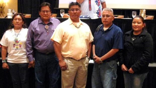 Native American Church of North America officers are, from left: Sheila White Eagle, Secretary; James Tso, Treasurer; Sandor Iron Rope, President (who signed this letter); Leo Dayish, Vice-President; and Sarah Fanman, Editor In Chief.