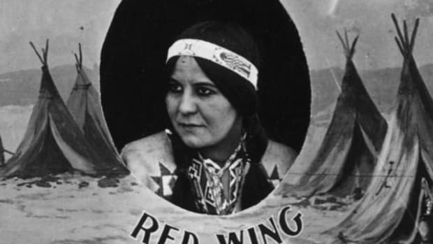 Lillian St. Cyr as Nat-U-Ritch in a detail of a cast photo for the 1914 silent film 'The Squaw Man.'