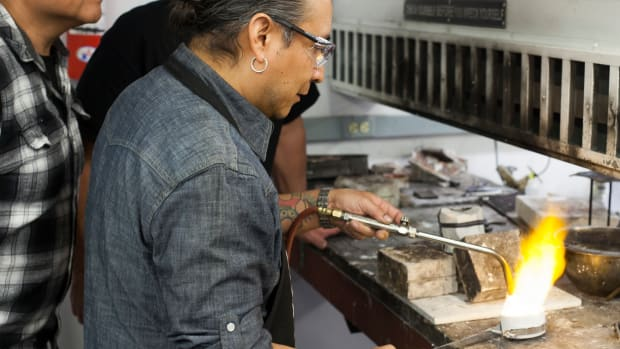 Accomplished Navajo jeweler and sculptor Fritz Casuse is the newest resident of the American Indian Arts Artist-in-Residence program. Courtesy Jaida Grey Eagle