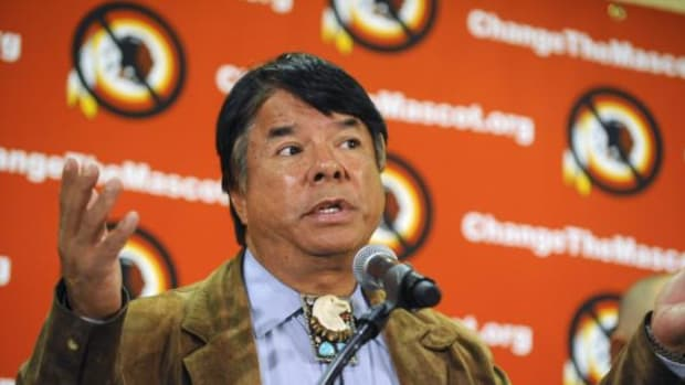 A press conference was held Friday to highlight the continued efforts by Native Americans and allies to change the name of the Washington NFL team. Above, Ray Halbritter, representative and CEO of the Oneida Indian Nation, at a press conference at the Marriott Marquis.