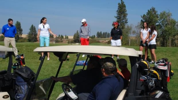 Paulette Jordan, second from left, welcomes golfers to her fund-raising tournament and party at the Circling Raven Golf Club on the Coeur d'Alene Reservation on September 16, 2012. She is running for a Democratic seat in the Idaho House of Representatives, Fifth District.