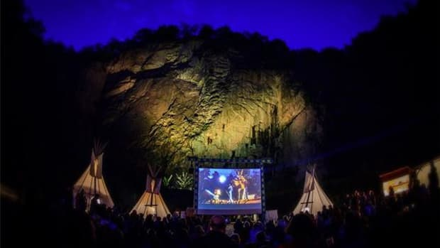 An outdoor film screening at the 2013 Karl May Festival in Radebeul, Germany.