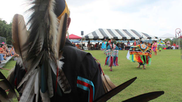 Nansemond tribal member Jessie Bass looks out during a fancy shawl dance at the Nansemond Pow Wow. Vincent Schilling