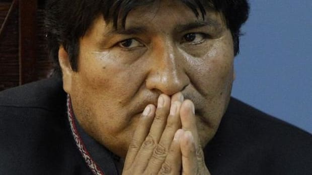 Evo Morales speaking on December 21, the end of the Mayan calendar, as a signal to the end to individualism and capitalism and a turn towards the collective good.