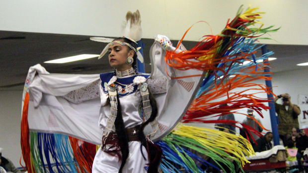 Pow wow planner - Ribbon shawl dancer in a rainbow colors at the Richmond Pow Wow: Photo - Vincent Schilling