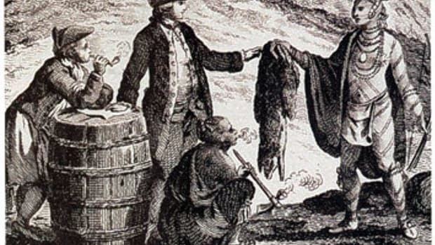Fur traders in Canada are seen here trading with Native Americans in 1777. In North America, the fur trade during the colonial and early U.S. periods was a major source of wealth production.