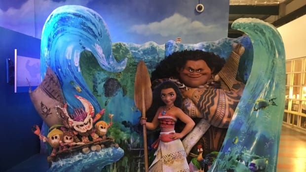 A life-size model of Moana and the demi-god Maui, characters in the movie display inside the Disney's animation studio where Moana was made.