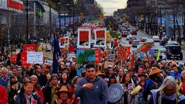 More than 5,000 people protested in Vancouver on November 19 against a Kinder Morgan pipeline expansion that would triple capacity.