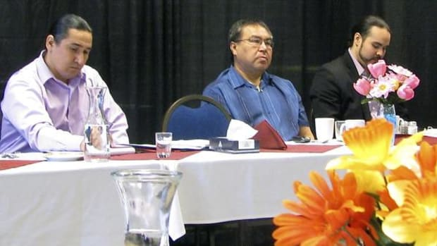 All Red Lake Tribal Council members and Hereditary Chiefs attend the Conference on Government Reform. Pictured left to right: Red Lake Chairman Floyd Jourdain Jr., Tribal Council Member Donald May of Redby, and Sam Strong, Director of Economic Development and Planning.