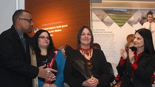 Chief Shelley DePaul, Lenape Nation of Pennsylvania, center, offered a traditional Lenape prayer in both Lenape and English, at the public opening of the Penn Museum's Native American Voices exhibition March 1, 2014. Standing with her, from left, are Vince Williams, Nanticoke Lenni Lenape Tribe; Exhibition Content Advisor Tina Fragoso, a member of the Nanticoke Lenni-Lenape Tribe of Bridgeport, New Jersey; and at far right, Dr. Ann Dapice, a member of the Lenape Nation of Pennsylvania. Chief DePaul speaks at the Treaty event August 13.