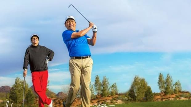 Notah Begay III and Alice Cooper at the Pascua Yaqui tribe's Sewailo Golf Course in Tucson - named the top course in Arizona.