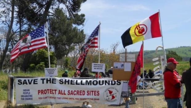 Protesters have occupied the Shellmound ancient Indian burial ground for more than a week.