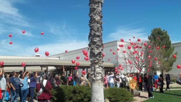 Knowledge Equals Life: Native HIV-AIDS Awareness Day. Balloon releasing ceremony celebrates those who have walked on.