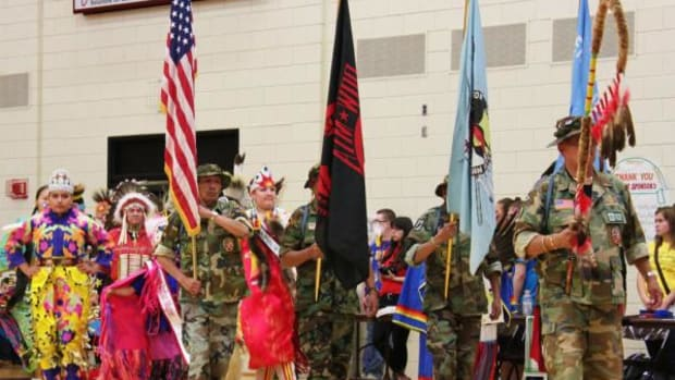 Grand Entry at the Circle of Nations Indigenous Association pow wow