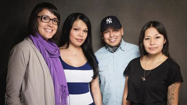From left, Sydney Freeland, Carmen Moore, Jeremiah Bitsui and MorningStar Angeline pose for a portrait at Quaker Good Energy Lodge