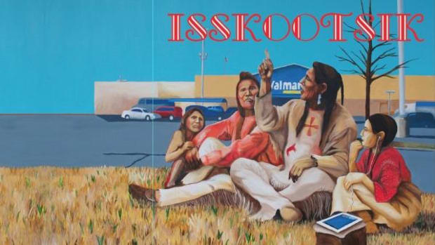 The album cover art for 'ISSKOOTSIK (Before Here Was Here)', painted by Bunky Echo-Hawk.