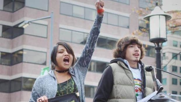 Hundreds of young activists took to the streets on November 9 in Washington, D.C. to raise awareness of climate change as well as racial discrimination in the U.S.