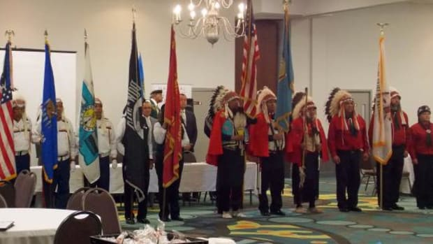 Members of the Kiowa Black Leggings Society and the Apache Tribe of Oklahoma Color Guard participated in the opening ceremonies of the NMAI Veterans Memorial consultation hearing in Oklahoma City.