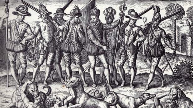 Some conquistadores fed the Spanish dogs with living Indians. Theodor and sons, Americae