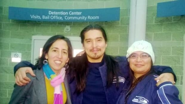 Innocence Project Northwest Attorney Fernanda Torres, left, with Brandon and Melissa Olebar the day Olebar was released from prison.