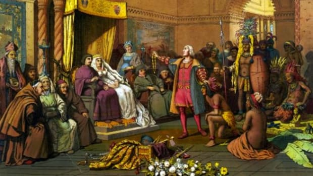 An illustration shows Christopher Columbus standing before the king and queen of Spain, presenting Indians and treasures from the New World in 1493 in Barcelona.