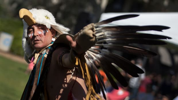"""UCSD Pow Wow 2017: Wanblee Ista Wicapi Sapa (The Eagle is Black but the Eye is a Star) joked that his """"Indian name is Steve Garcia."""""""
