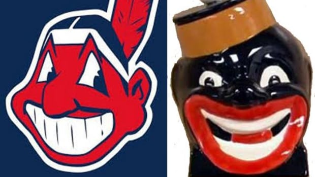 """Left, the Cleveland Indians mascot """"Chief Wahoo."""" Right: Little Black Sambo."""