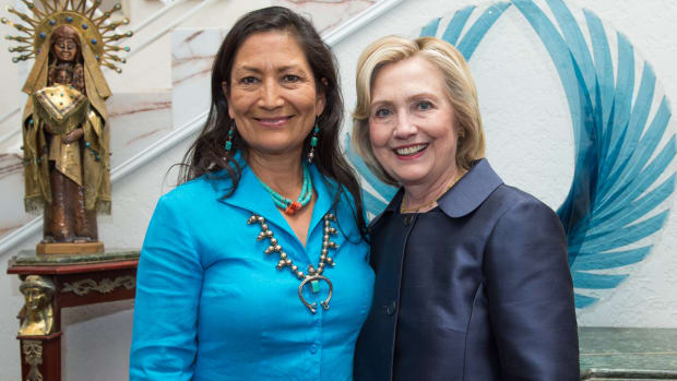 Debra Haaland, Democratic Party of New Mexico chairwoman, with Democratic Presidential candidate Hillary Clinton.