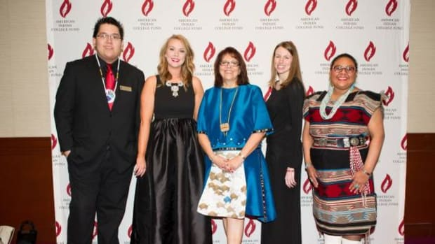 "The 2016 American Indian College Fund was held March 1 at Pier Sixty in New York City. Pictured, from left, are Waycen Owens-Cyr, Lauren Stanley, Dr. Cheryl Crazy Bull, Kathryn ""Katie"" Jones, and Alberta Nells."