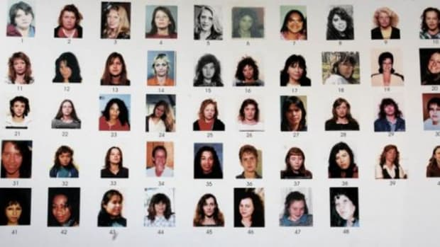 This handout photo shows a posterboard of 48 missing women used in the police interview of accused serial killer Robert Pickton after his arrest in February 2002.  The posterboard was released by Justice James Williams for the media to record at Pickton's trial in New Westminster,  Wednesday, January 31, 2007. (AP Photo/CP)