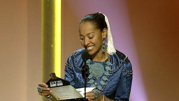 Radmilla Cody is the first Native American to serve as a presenter at the Pre-Telecast Grammy Awards Ceremony.