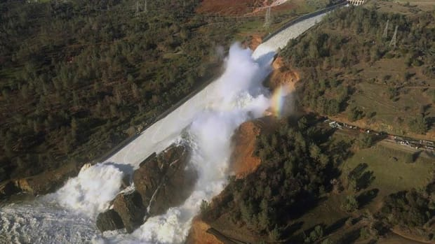 This Saturday, February 11, 2017, aerial photo shows the damaged Oroville Dam spillway with eroded hillside in Oroville, California.