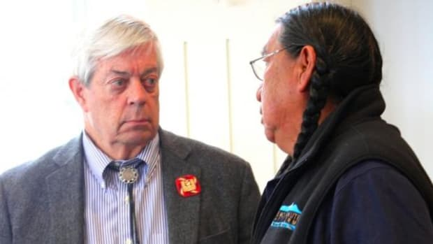 Edward Nichols, president and CEO of History Colorado, spoke with Terry Knight, a cultural leader of the Ute Mountain Ute Tribe, at a meeting March 22 of the Colorado Commission of Indian Affairs. The commission has been asked to help foster negotiations between the Cheyenne and Arapaho Tribes and History Colorado in a conflict over consultation for the Sand Creek Massacre exhibit at the History Colorado Center.