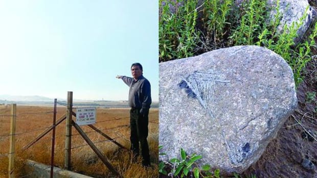 Arden Kucate, head tribal councilman of Zuni Pueblo, describes the desecration he saw during his tour of Amity Pueblo (left). The image on the right shows abrasions on a large stone from metal machinery.