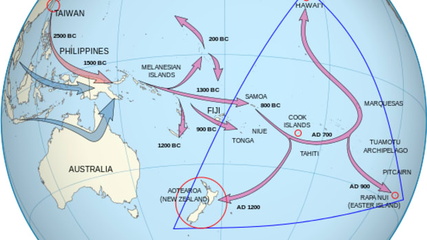 The current mainstream view of Polynesian migration history. The migrations to Australia (in blue) are by separate peoples and occurred 40,000 to 60,000 years ago, indicating that there was some seafaring technology in ancient times.