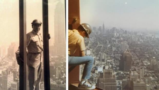 Pictured at left, Julius M. Cook standing on the outer wall of Tower A of the World Trade Center, taken by a 12 year-old Ray Cook. At right, Ray at 15 peering over the edge of Tower B on the 86th Floor.